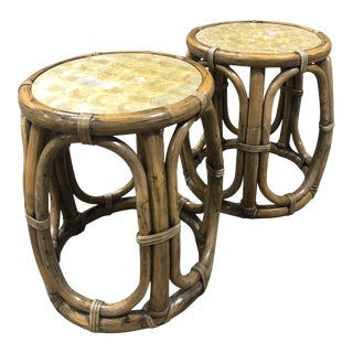 Vibtage Boho Chic Maguire Shell and Rattan Tables - a Pair For Sale