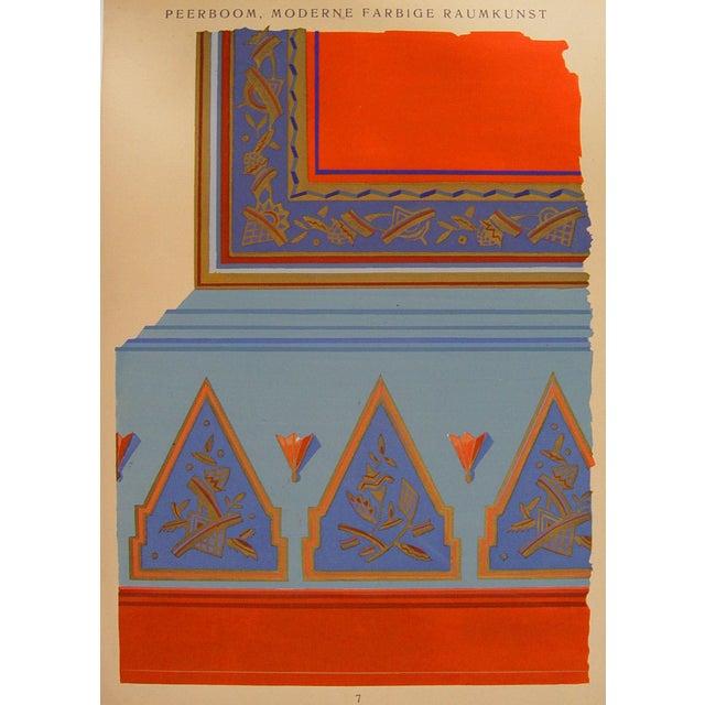 Antique 1929 art deco interior detail pochoir chairish for Pochoir deco