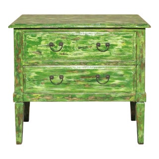 Distressed Light Green Lacquer Two Dresser Console Table Cabinet For Sale