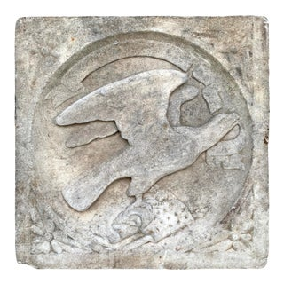 Early 20th Century Carved Marble American Eagle Architectural Fragment For Sale