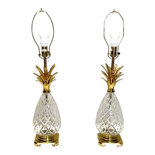Fabulous Vintage Wildwood Crystal Brass Pineapple Table Lamps - a Pair For Sale