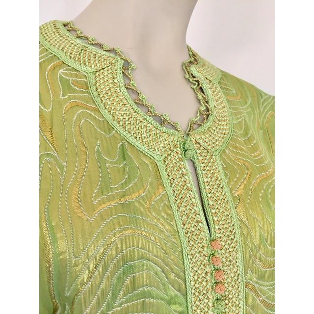 Green Moroccan Kaftan in Green and Gold Brocade Metallic Lame For Sale - Image 8 of 12