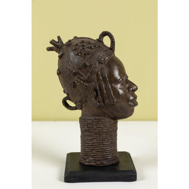 African Small Benin Bronze Head For Sale - Image 3 of 5
