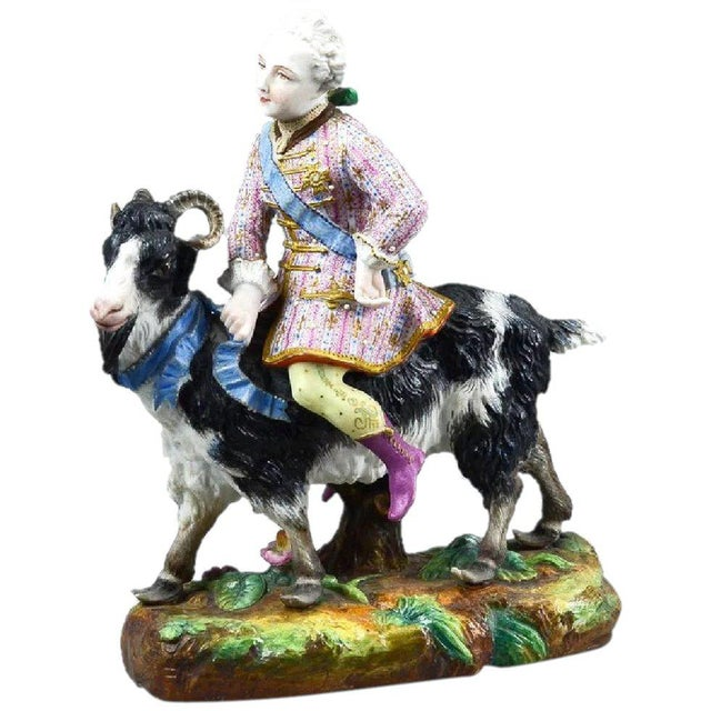 Vion Et Baury Count Bruhl's Tailor, Bisque Porcelain Goat and Rider Figurine For Sale - Image 9 of 9