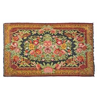 Vintage Mid-20th Century Turkish Yun Kilim Rug - 6′1″ × 9′1″ For Sale