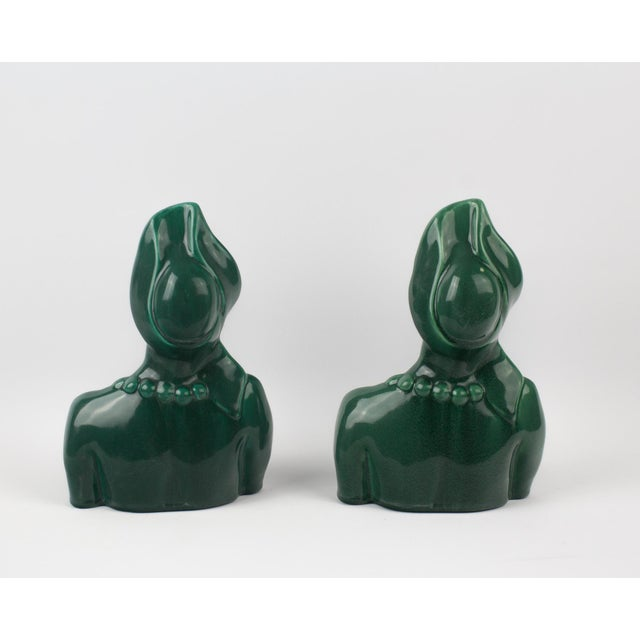 Green 1950s Figurative Green Goddess Busts - a Pair For Sale - Image 8 of 13