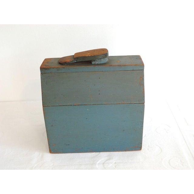 19th Century Original Blue Shoe Shine Box from Maine - Image 5 of 6