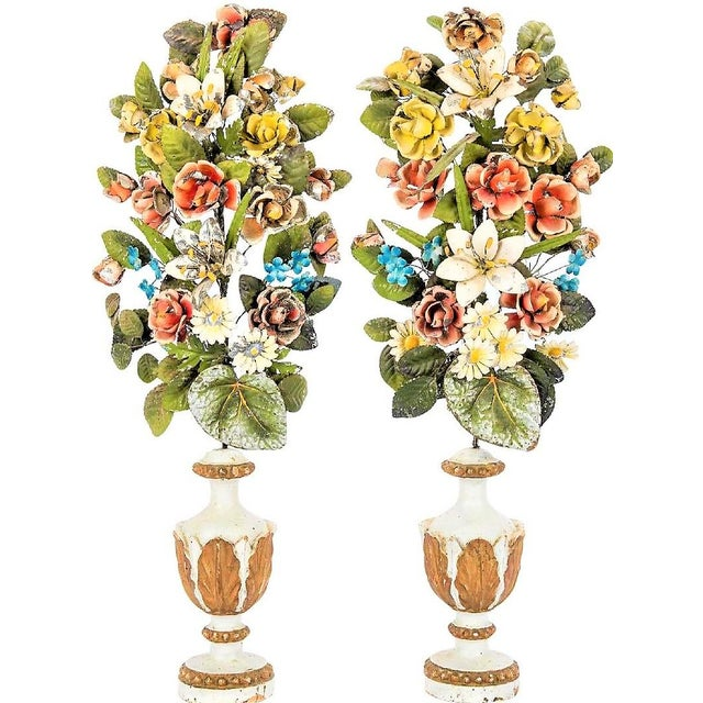 Antique Italian Tole Peinte Floral Topiaries - a Pair For Sale - Image 12 of 12