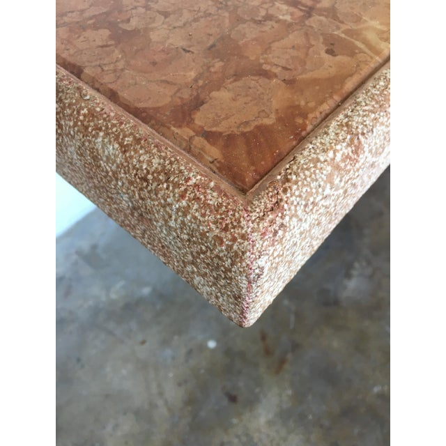 Vintage Pink Italian Marble Modernist Console Table - Image 7 of 9