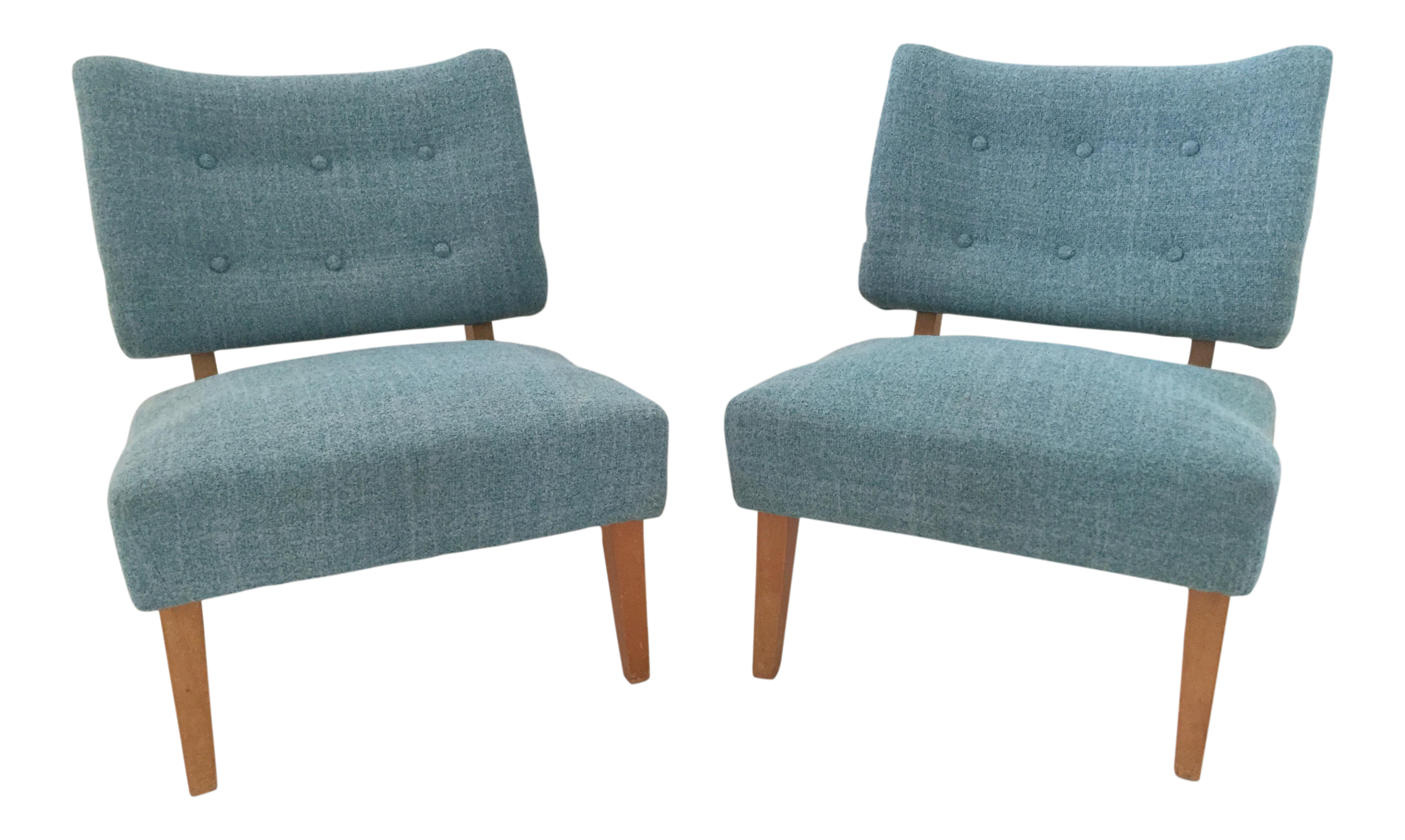 Vintage Kroehler Teal Blue Accent Slipper Chairs - a Pair | Chairish