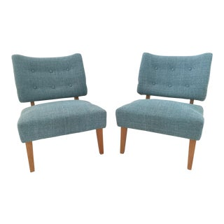 Vintage Kroehler Teal Blue Accent Slipper Chairs