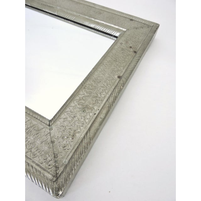 Vintage Indian Hammered Silver Rectangular Patterned Wall Mirror For Sale - Image 4 of 6