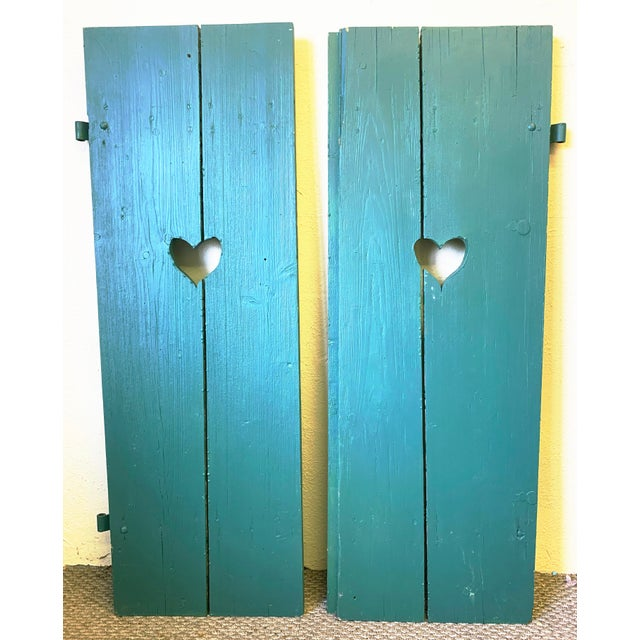 Large Antique Green Painted Window Shutters With Heart Cutouts - a Pair For Sale - Image 13 of 13