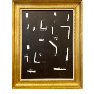 Contemporary Black and White Mid-Century Inspired Framed Painting