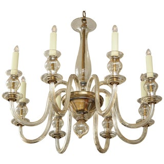1940s Italian Eight-Arm Murano Glass Chandelier For Sale