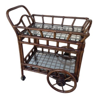 Rattan Bar Cart With a Tray on Top. For Sale