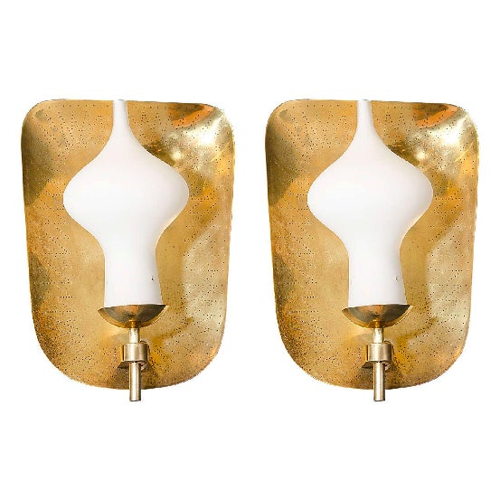 Paavo Tynell Mid-Century Wall Mounted Brass Sconces - a Pair - Image 2 of 3
