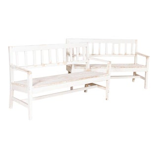 Antique White Painted Narrow Benches - a Pair For Sale