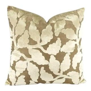 """Mendel Velvet Leaf Pattern Pillow Cover - 20x20"""" For Sale"""