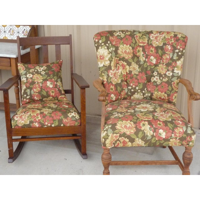 American Antique Brown Floral Tufted Armchair & Petite Oak Rocking Chair - A Pair For Sale - Image 3 of 9