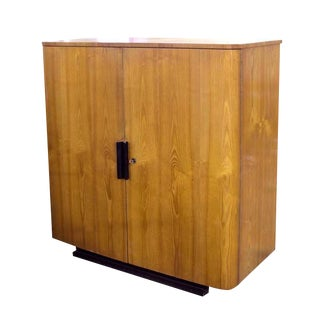 Vintage Art Deco Cabinet in Oak With Black Handles For Sale