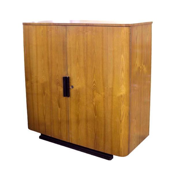 Vintage Art Deco Cabinet In Oak With Black Handles