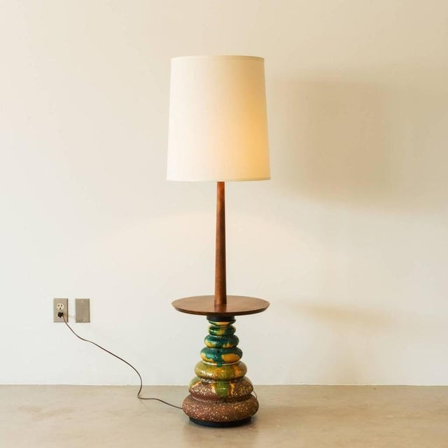Abstract 1960s California Studio Ceramic Drip-Glaze Floor Lamp With Teak Table For Sale - Image 3 of 10