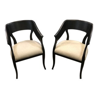 Modern Black Wooden Arm Chairs - a Pair