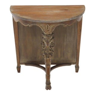 Demilune Carved Mahogany Hoof Foot Rams Head Tri Legged Console Wall Table For Sale