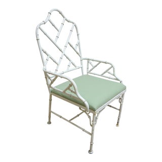 Vintage Metal Faux Bamboo Arm Chair For Sale
