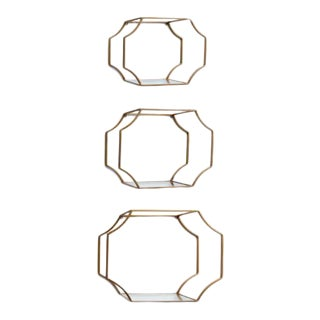 Kenneth Ludwig Chicago Hudson Gold Leafed & Mirrored Shelves - Set of 3 For Sale