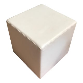 Contemporary Ivory Leather Cube Stool