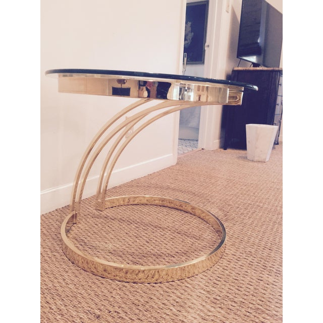 Modern Milo Baughman-Style Brass & Glass Side Table For Sale - Image 3 of 5