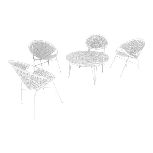 Tempestini Salterini 4 Radar Hoop Chairs and Cocktail Table - Set of 5 For Sale