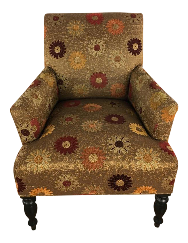 Pottery Barn Floral Upholstered Armchair