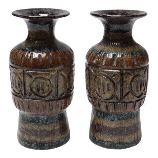 Pair of Mid-Century Italian Modern Sgraffito Vases / Vessels For Sale