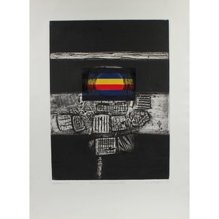 """Gary Lee Shaffer """"Iconic Lanscape Xxxiii"""" Large Collograph Print, 1973 1973 For Sale"""