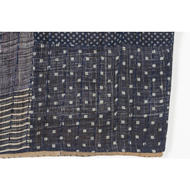 Boho Chic Indian Indigo Quilted Cotton Bedcover For Sale - Image 3 of 5