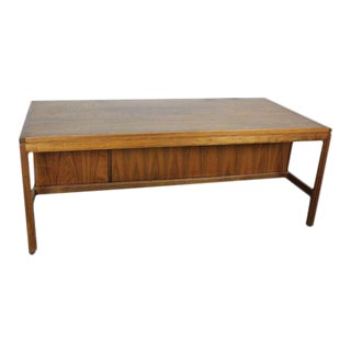 Jens Risom Walnut Veneer Single Ped Executive Desk For Sale
