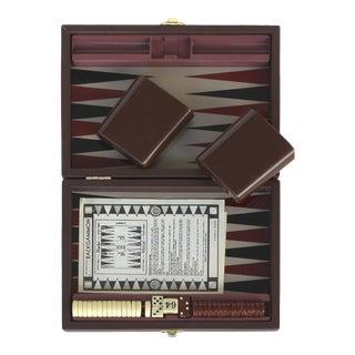 Vintage Backgammon Set W/ Leatherette Travel Case For Sale