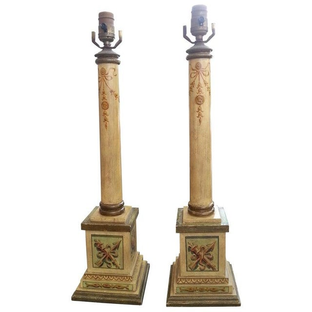 Column Table Lamps Neoclassic Revival 1950s Hand Painted Wood - a Pair For Sale In West Palm - Image 6 of 6