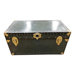 Vintage Industrial Black Military Foot Locker Trunk For Sale