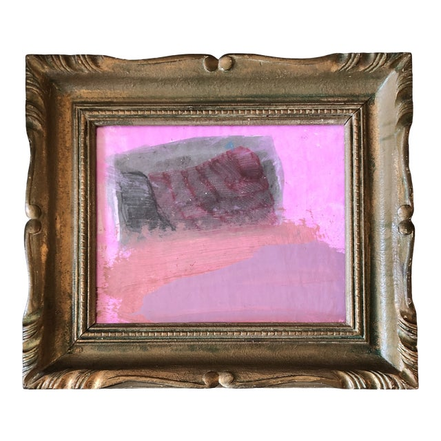 Vintage Small Abstract Painting Vintage French Style Carved Wood Frame 1970's For Sale