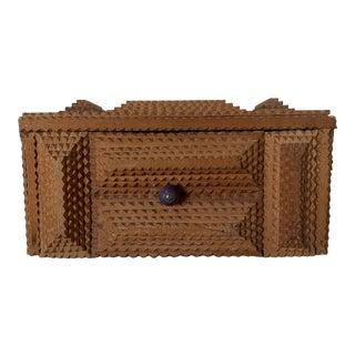 Antique Folk Art Tramp Art Box For Sale