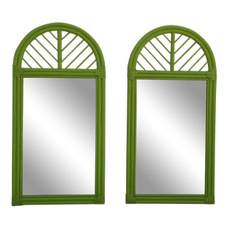 McGuire Green Rattan Arch Wall Mirrors - a Pair