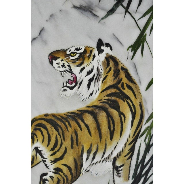 Carved & Painted Tiger Oriental Scene White Marble Vase Vessel For Sale - Image 11 of 13