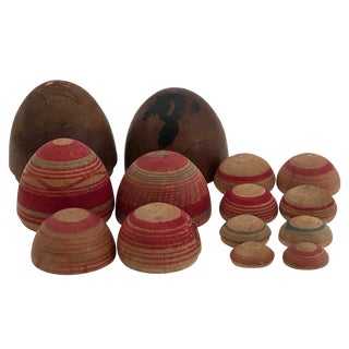 Vintage Mid-Century Japanese Hand-Painted Wooden Nesting Eggs - Set of 7 For Sale