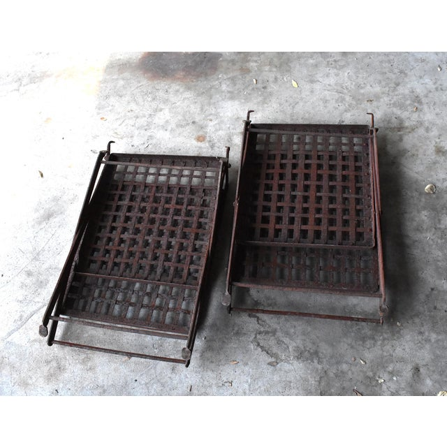 Vintage 1940s Wrought Iron Folding Garden Chairs - a Pair For Sale - Image 10 of 11