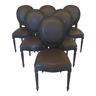Louis XVI Style Dark Gray Leather Dining Chairs - Set of 6