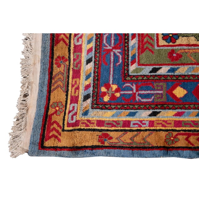 Mid-20th Century Vintage Khotan Rug 6' 10'' X 9' 7''. For Sale In New York - Image 6 of 13